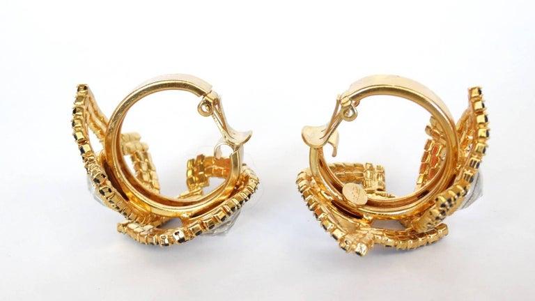 William De Lillo Black Rhinestone Hoop Clip Earrings For Sale 4