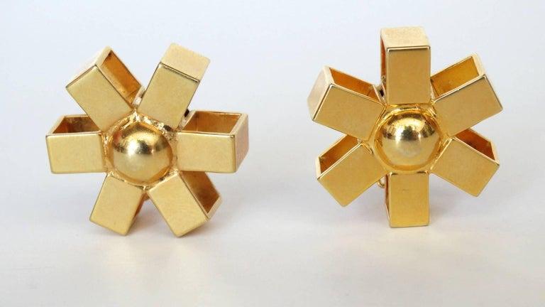 William De Lillo Gold Asterisk Clip Earrings For Sale 6