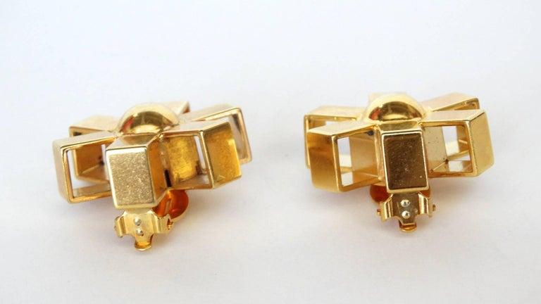 William De Lillo Gold Asterisk Clip Earrings For Sale 1