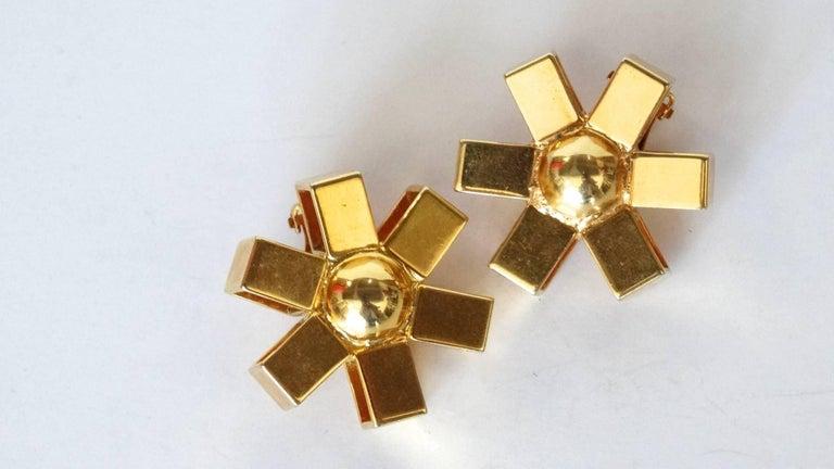 William De Lillo Gold Asterisk Clip Earrings For Sale 3
