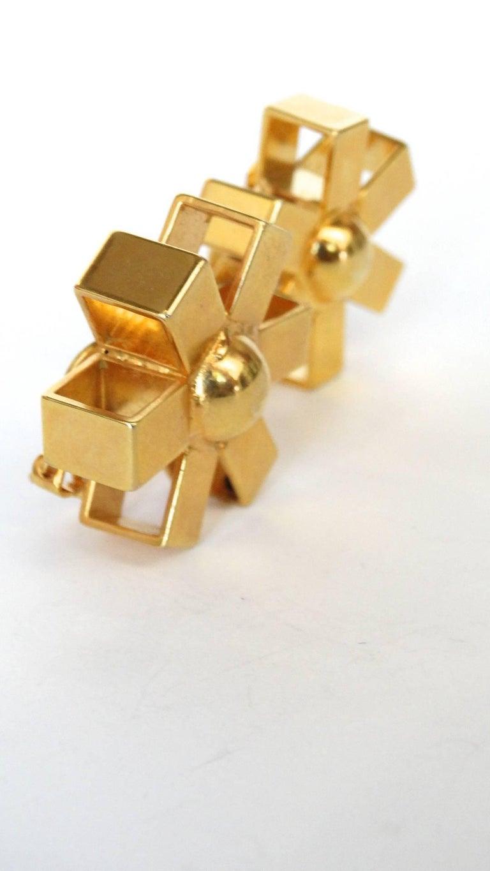 William De Lillo Gold Asterisk Clip Earrings For Sale 5