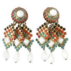 William de Lillo Multi-colored Dangle Earrings 1970s