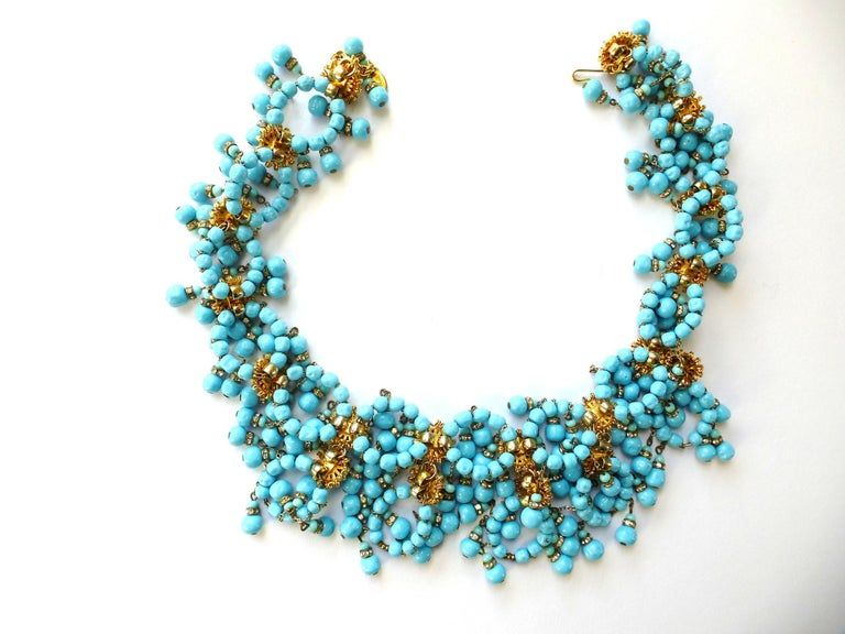 Artisan William de Lillo NY limited necklace turquoise glass pearls 1970s USA For Sale