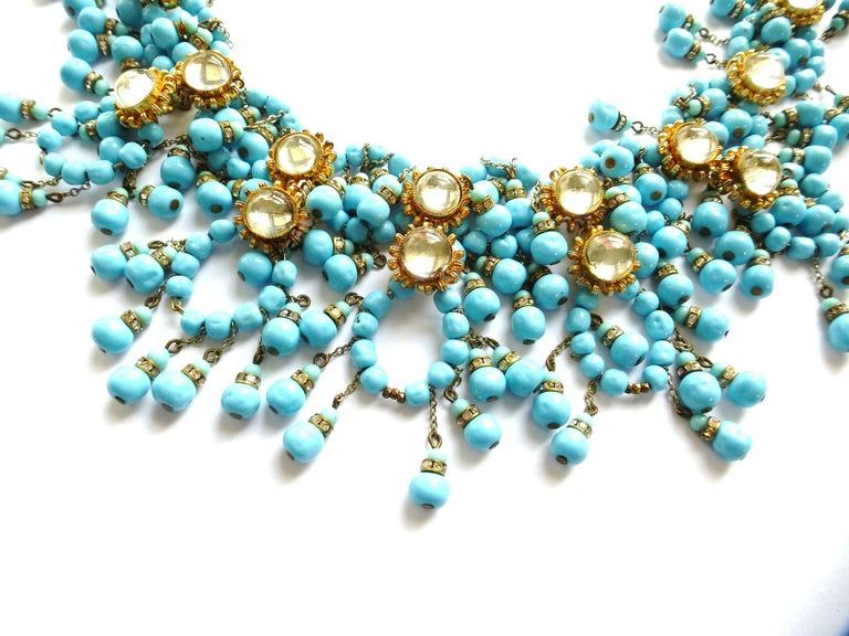 Round Cut William de Lillo NY limited necklace turquoise glass pearls 1970s USA For Sale