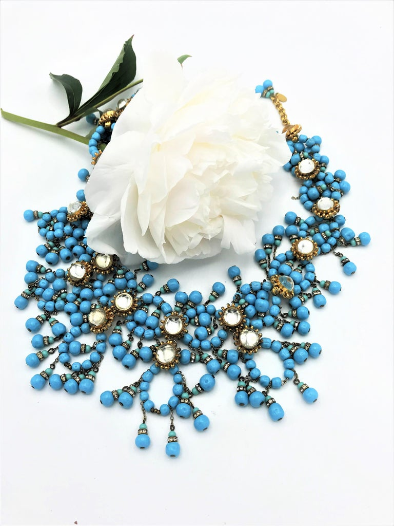 William de Lillo NY limited necklace turquoise glass pearls 1970s USA In Excellent Condition For Sale In Stuttgart, DE
