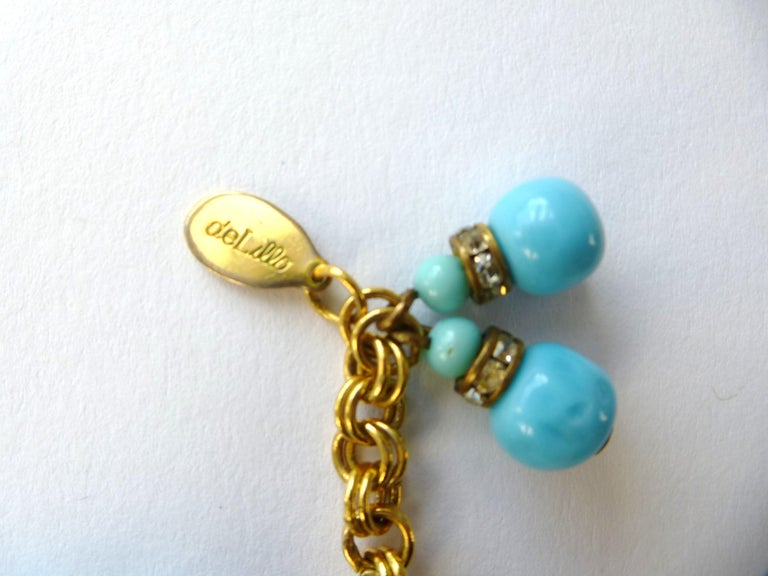 William de Lillo NY limited necklace turquoise glass pearls 1970s USA For Sale 1