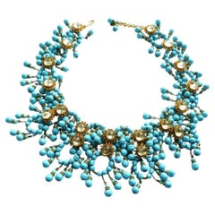 William de Lillo NY limited necklace turquoise glass pearls 1970s USA