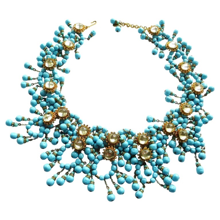 William de Lillo NY limited necklace turquoise glass pearls 1970s USA For Sale
