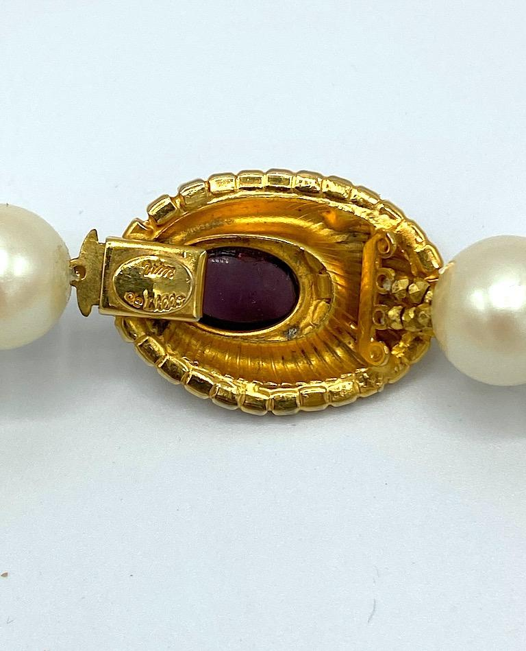 William DeLillo 1970s Pearl with Large Jeweled Pendant Necklace 11