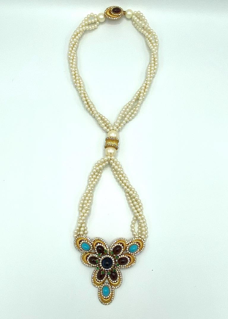 William DeLillo 1970s Pearl with Large Jeweled Pendant Necklace In Excellent Condition In New York, NY
