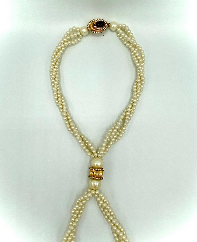Women's William DeLillo 1970s Pearl with Large Jeweled Pendant Necklace