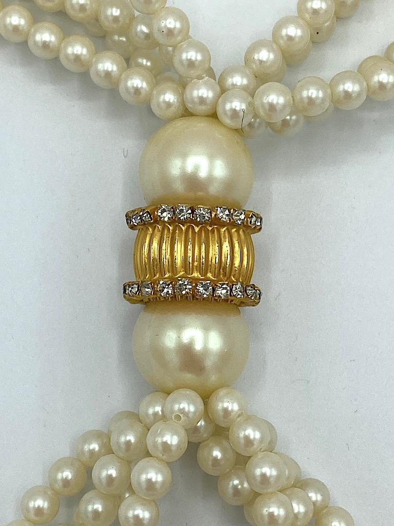 William DeLillo 1970s Pearl with Large Jeweled Pendant Necklace 1