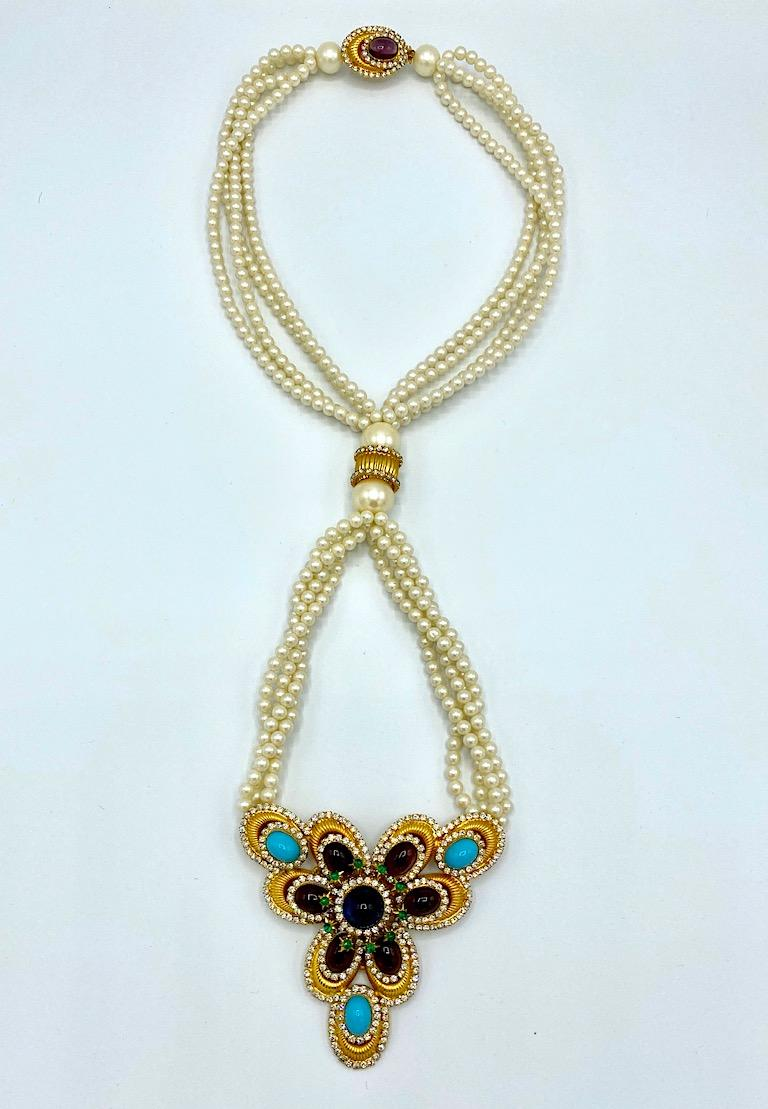 William DeLillo 1970s Pearl with Large Jeweled Pendant Necklace 2