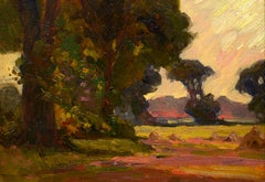 """Edge of Hayfield,"" William Dennis, impressionist, 1900-1910, rural landscape"