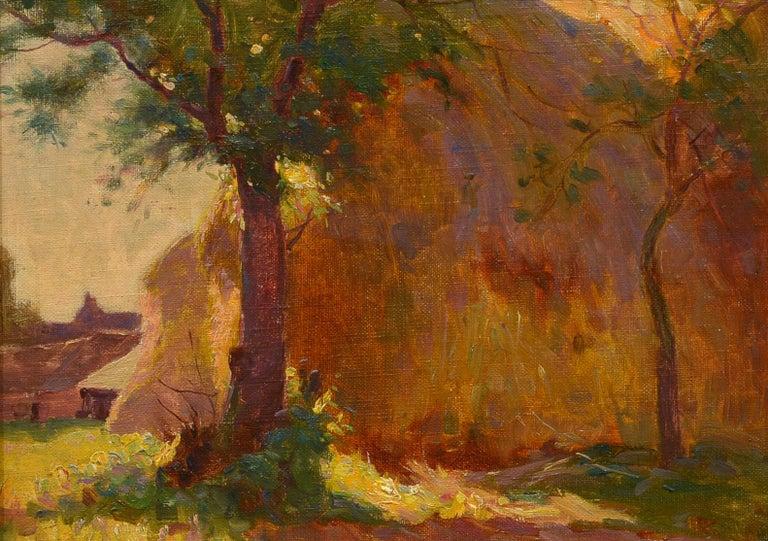 """Sunlit Haystacks,"" William Dennis, impressionist, 1900-1910, rural landscape - Painting by William Dennis"