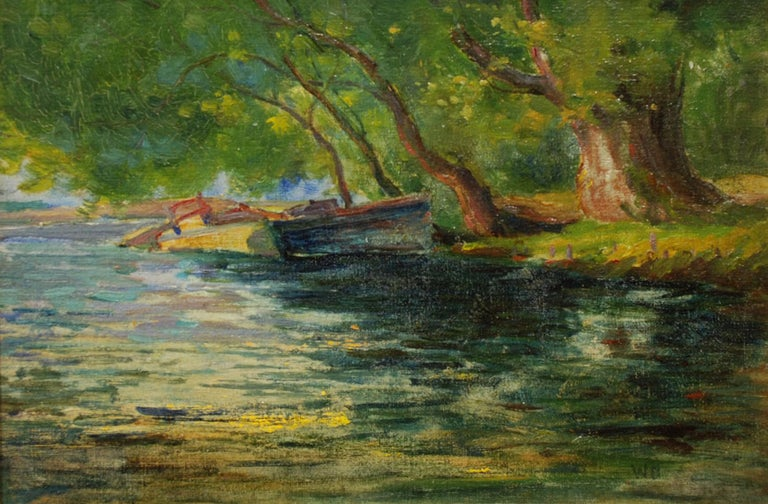 """Willows Along the Stream,"" William Dennis, rural landscape, impressionist - Painting by William Dennis"