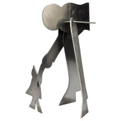 William Dickey King Modernist Aluminum Puzzle Sculpture of a Man with Bird