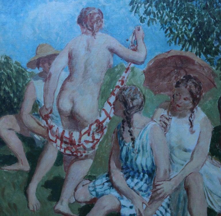 Summer Frolic - British Post Impressionist 30's art nude oil painting Slade Sch 3