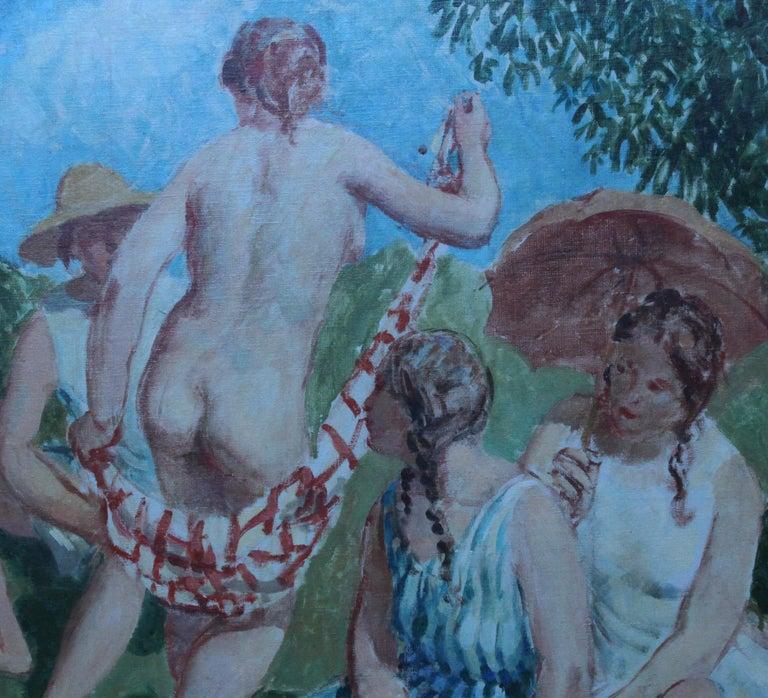Summer Frolic - British Post Impressionist 30's art nude oil painting Slade Sch 4