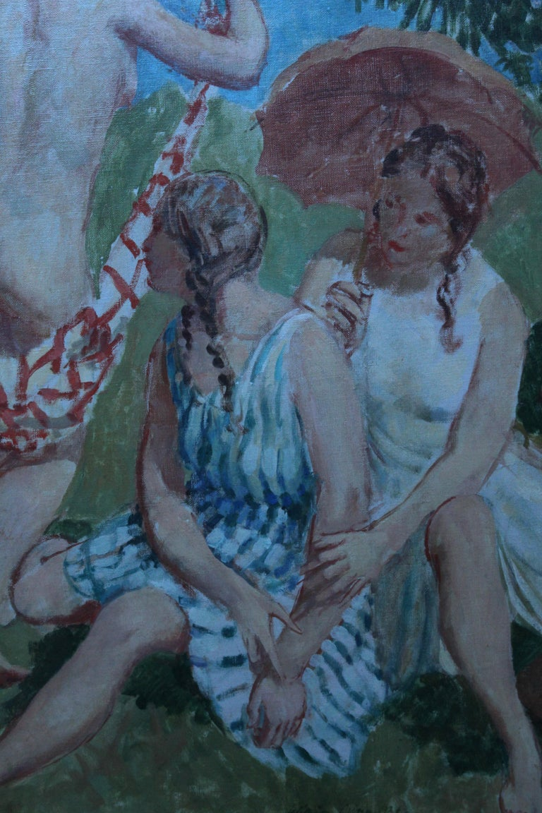 Summer Frolic - British Post Impressionist 30's art nude oil painting Slade Sch 5
