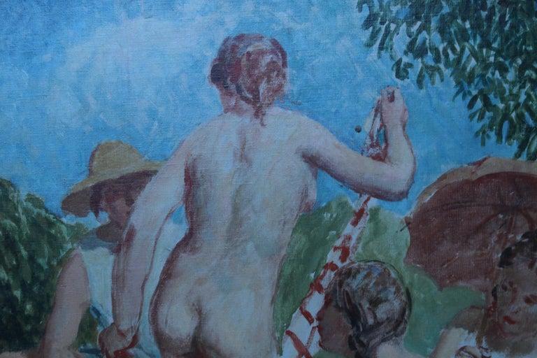 Summer Frolic - British Post Impressionist 30's art nude oil painting Slade Sch 6
