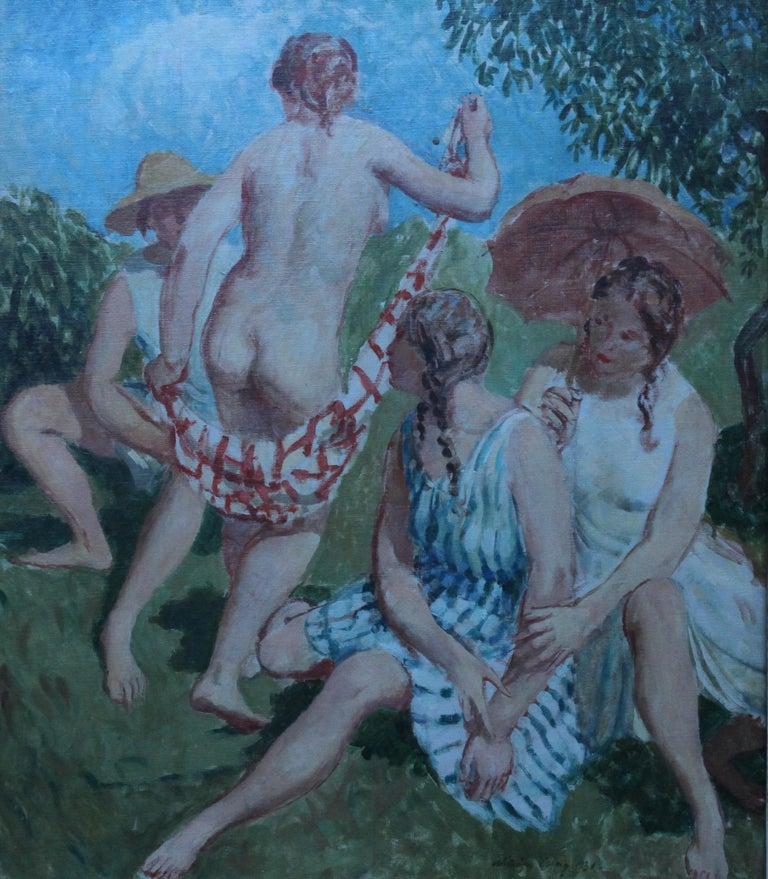 Summer Frolic - British Post Impressionist 30's art nude oil painting Slade Sch 9