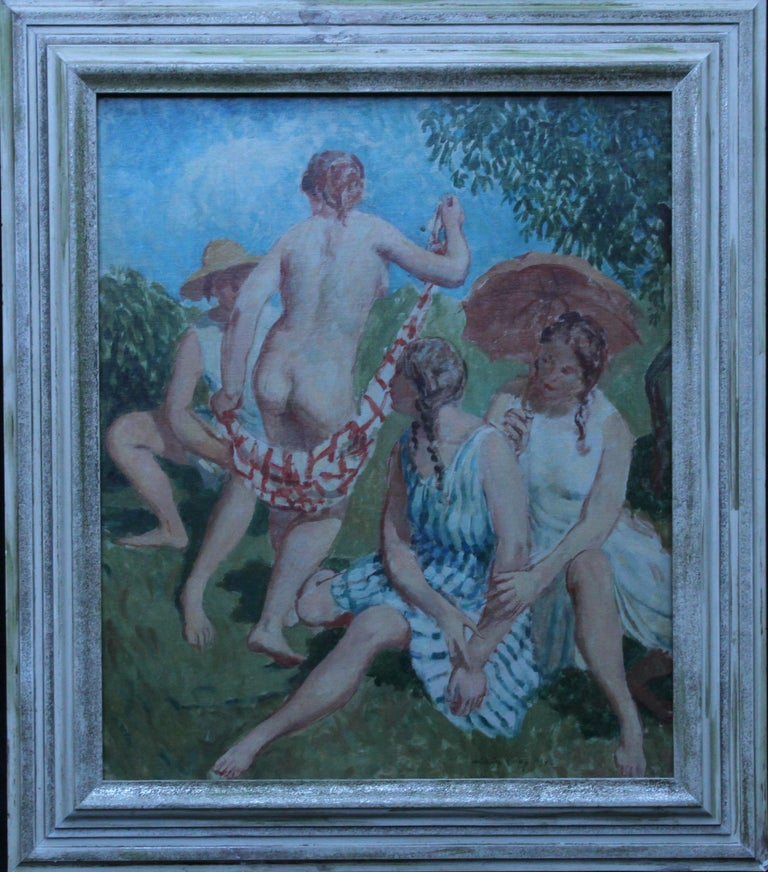 Summer Frolic - British Post Impressionist 30's art nude oil painting Slade Sch 1