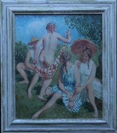 Summer Frolic - British Post Impressionist 30's art nude oil painting Slade Sch