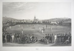 The Cricket Match between Sussex & Kent, at Brighton, Victorian engraving, 1849