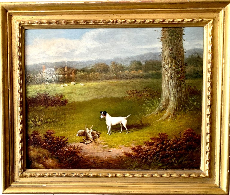 Victorian 19th century oil painting of a Jack Russel dog in a landscape - Painting by William E. Turner
