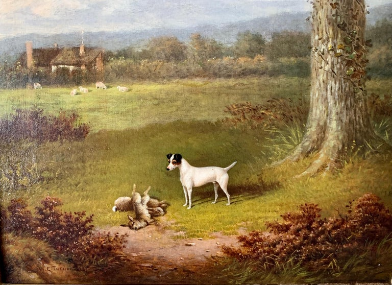 Victorian 19th century oil painting of a Jack Russel dog in a landscape - Brown Figurative Painting by William E. Turner