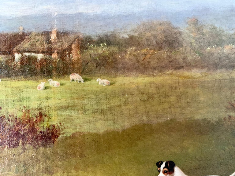 Victorian 19th century oil painting of a Jack Russel dog in a landscape For Sale 1