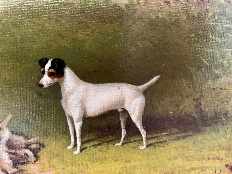 Victorian 19th century oil painting of a Jack Russel dog in a landscape For Sale 2