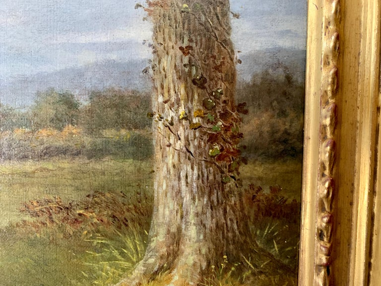Victorian 19th century oil painting of a Jack Russel dog in a landscape For Sale 3