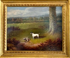 Victorian 19th century oil painting of a Jack Russel dog in a landscape