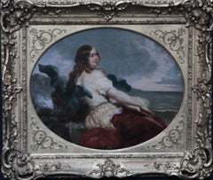 Portrait of a Young Woman at the Seashore - British Victorian art oil painting