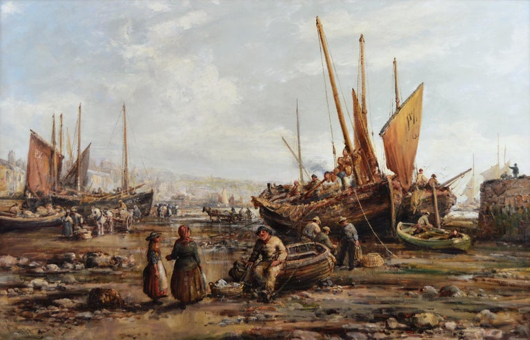 19th Century seascape oil painting of Penzance harbour, Cornwall - Painting by William Edward Webb