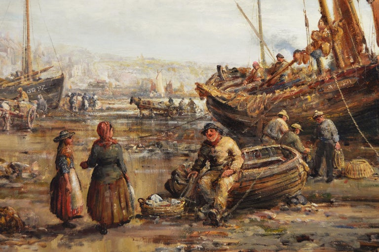 19th Century seascape oil painting of Penzance harbour, Cornwall - Victorian Painting by William Edward Webb