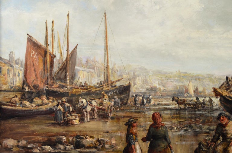 19th Century seascape oil painting of Penzance harbour, Cornwall - Brown Figurative Painting by William Edward Webb