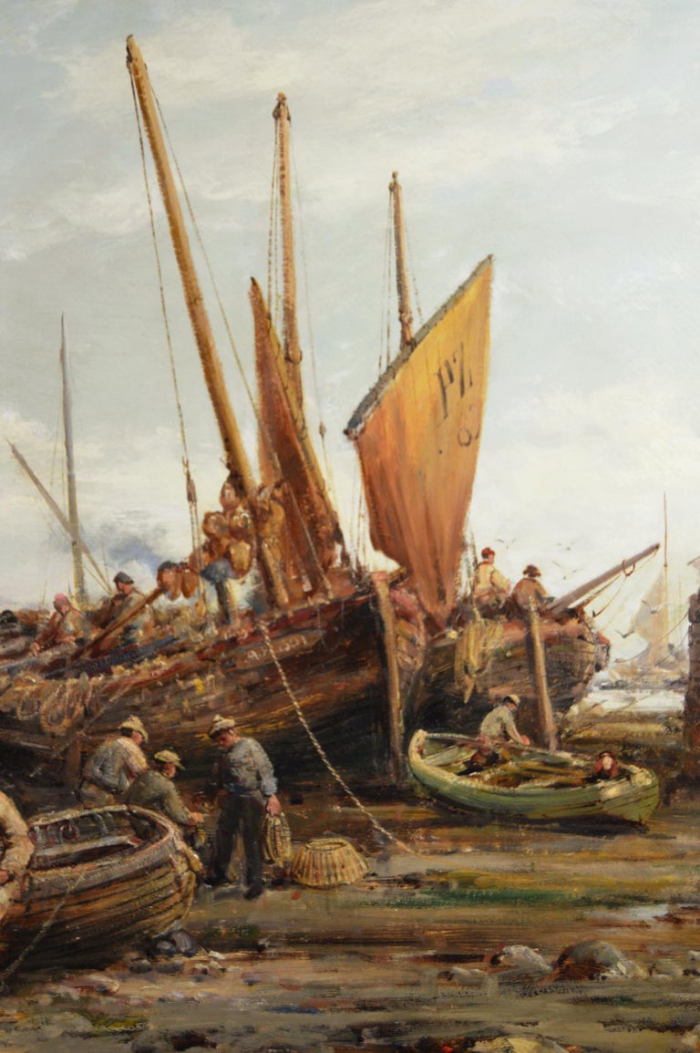 William Edward Webb British, (1862-1903) Penzance Harbour Oil on canvas, signed Image size: 29 inches x 45.5 inches  Size including frame: 38 inches x 54.5 inches  William Webb was born in Manchester in 1862. Although he lived all his life in