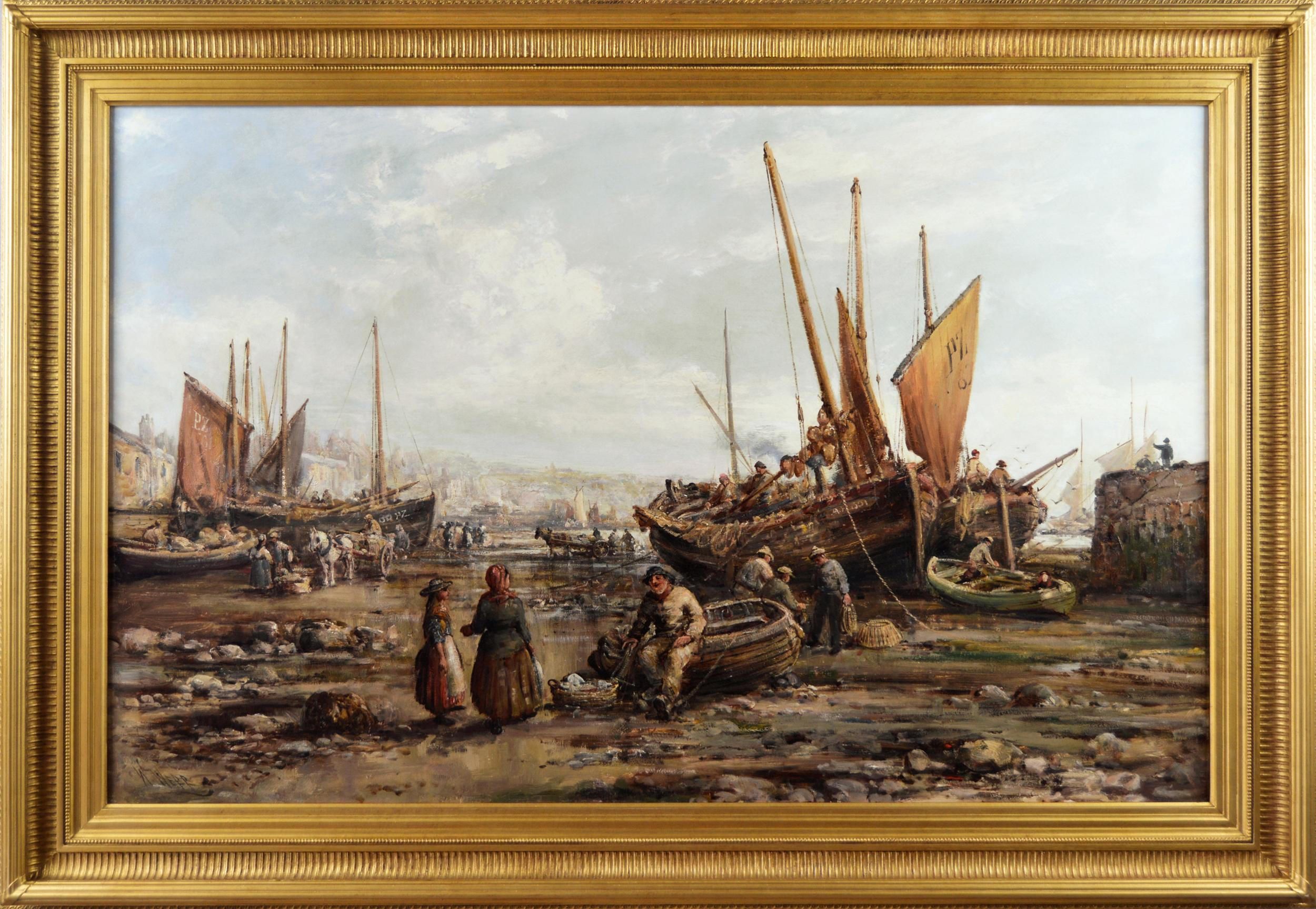 19th Century seascape oil painting of Penzance harbour, Cornwall
