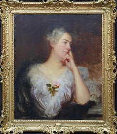 Portrait of a Lady with Rose - British art Old Master portrait oil painting