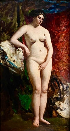 19th Century English Standing Female Nude with Red Drapery