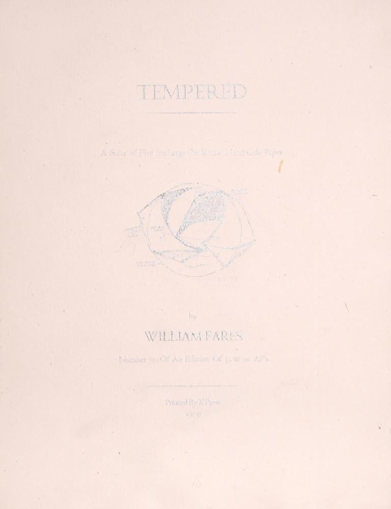 The Tempered Portfolio, Five Abstract Etchings by William Fares For Sale 1
