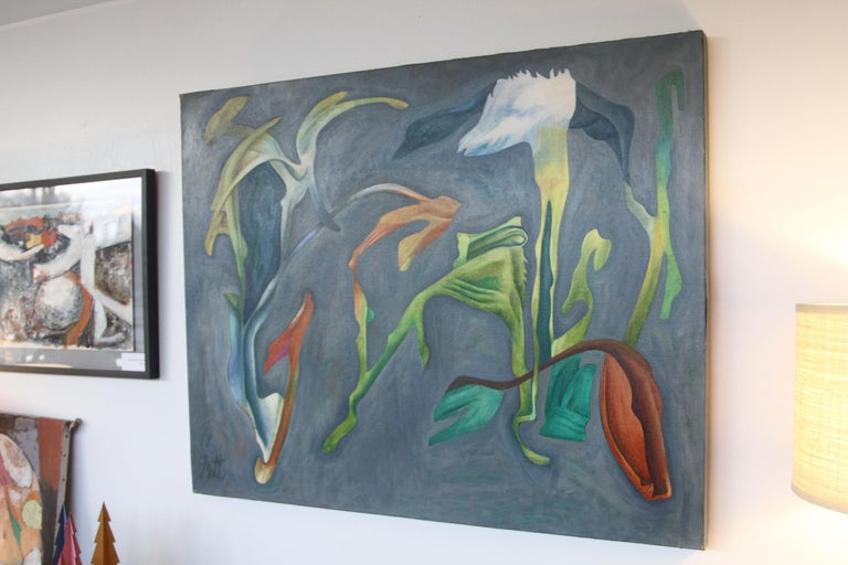 Mid-Century Modern William Fett Surrealist Abstract Landscape Oil Painting  For Sale