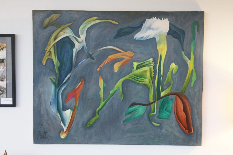 20th Century William Fett Surrealist Abstract Landscape Oil Painting  For Sale