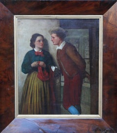 The Gossip - Scottish 19thC art Victorian oil painting young romantic couple