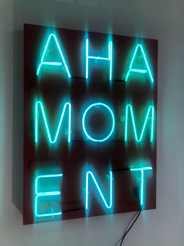Acrylic and Neon on Panel Titled: AHA MOMENT  For Sale 9