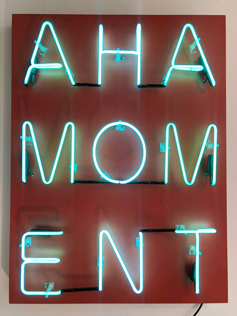 Acrylic and Neon on Panel Titled: AHA MOMENT  - Conceptual Mixed Media Art by William Finlayson