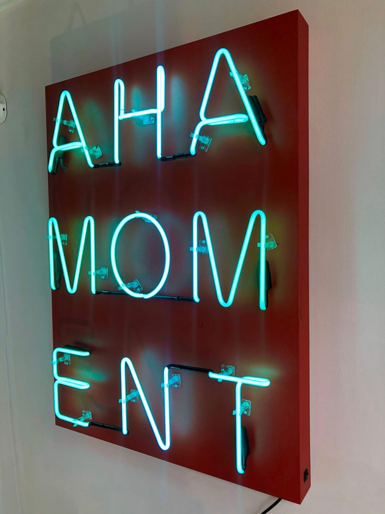 Acrylic and Neon on Panel Titled: AHA MOMENT  For Sale 2